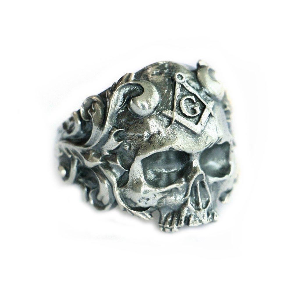 LINSION 925 Sterling Silver Masonic Skull Ring Mens Biker Punk Ring TA116 (14)