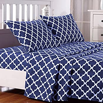 Wonderful Lux Decor Collection Egyptian Luxury Quatrefoil Pattern Bed Sheets Set  Bedding   Wrinkle, Fade, Stain Resistant   Hypoallergenic   4 Piece Sheets  (Queen, ...