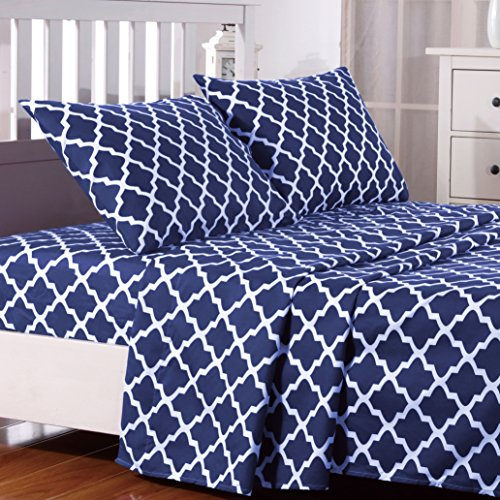 Egyptian Luxury Quatrefoil Pattern Bed Full Sheets Set 1800 Bedding - Wrinkle, Fade, Stain Resistant - Hypoallergenic - 4 Piece Sheets (Full, Navy Blue/White) (Bedding White Blue)