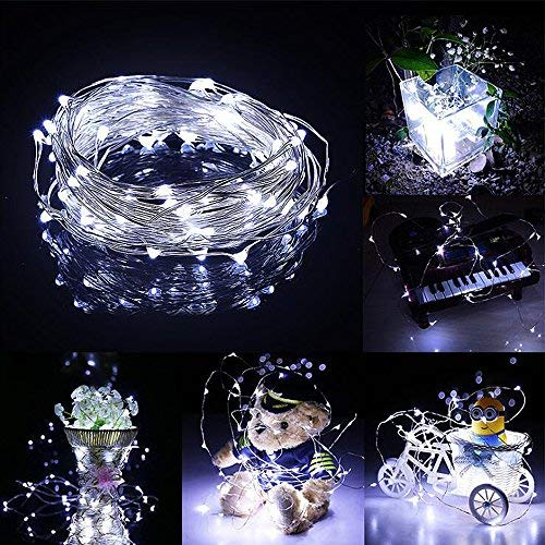 Ankway Solar String Lights White 200 LED 3-Strand Copper Wire Fairy Lights 8 Modes 72 ft Solar Powered String Lights Waterproof IP65 LED Twinkle Lights Outdoor Patio Garden Indoor Bedroom Party