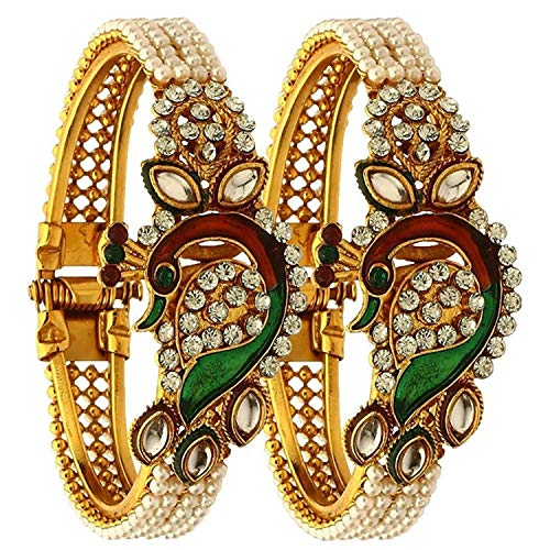 Bangle Wedding Jewelry - Efulgenz Indian Bangles Bollywood Traditional Ethnic 18 K Gold Plated Faux Rhinestone Bangle Bracelets Bridal Wedding Jewelry For Women