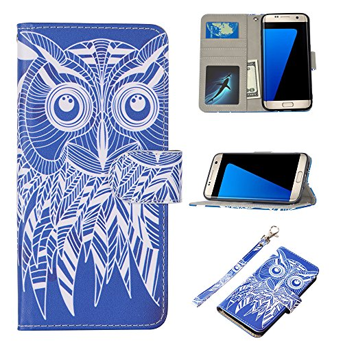 UrSpeedtekLive S7 Edge Case, Galaxy S7 Edge Wallet Case, Premium PU Leather Wristlet Flip Case Cover with Card Slots & Stand for Samsung Galaxy S7 Edge, Owl