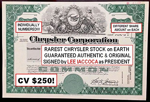 1986 RARE ORIGINAL CHRYSLER STOCK CERTIFICATE SIGNED BY LEE IACCOCA! FLAWLESS! HOT & GETTING HOTTER Share Amount Varies Crisp Uncirculated
