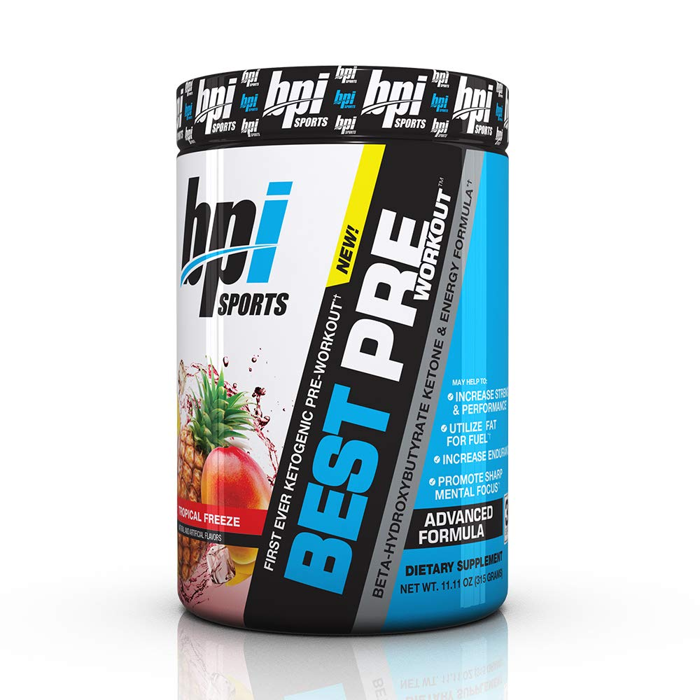BPI Sports Ketogenic Pre-Workout Supplement - Best Pre-Workout - Carb-Free - Burns Fat for Energy - Helps Preserve Lean Muscle Mass - Improved Focus - Tropical Freeze - 30 Servings - 11.11 oz. by BPI Sports