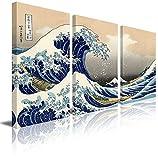 art panel print - Wall26 3 Panel Canvas Print Wall Art - The Great Wave Off Kanagawa by Katsushika Hokusai - 36