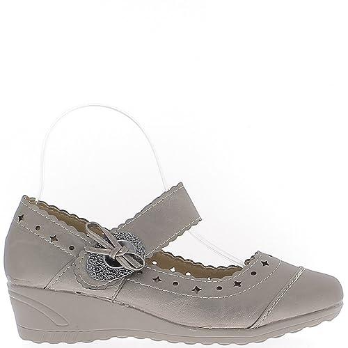 Chaussures Femme Bronze Confort Talon compensé de 4cm liseré Gris Métal - 37