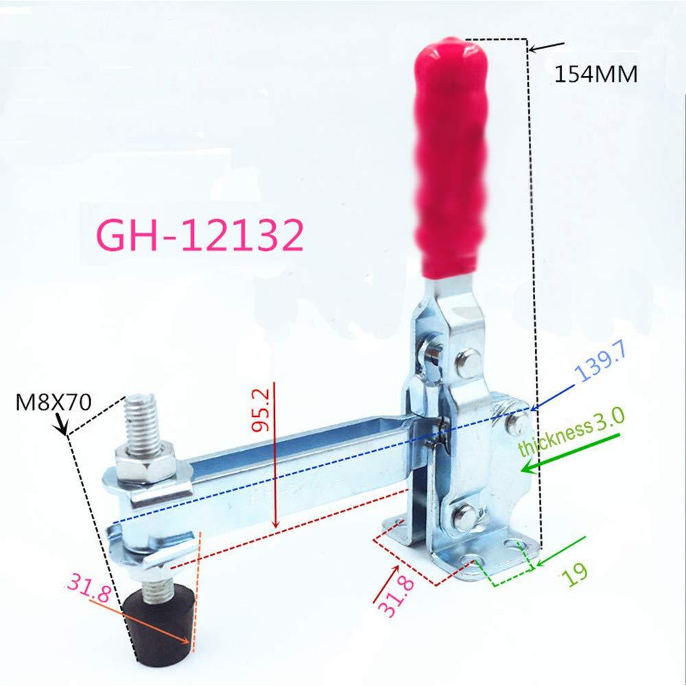 MINGZE Toggle Clamp GH-12132 Abrazadera de soldadura vertical Pr/áctica popular Manija de liberaci/ón r/ápida Vertical 227KG 500lbs Capacidad R/ápidamente Holding