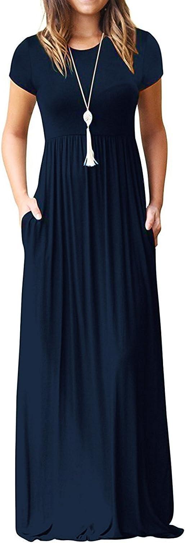 Euovmy Women's Short Sleeve Loose Plain Maxi Dresses Casual Long Dresses with Pockets