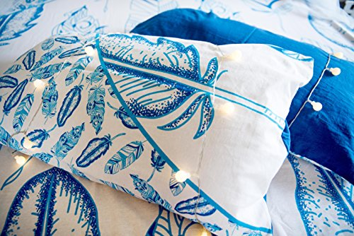 Blue Feather Mandala Bedding with Pillow Covers, Indian Bohemian Hippie Tapestry Wall Hanging, Hippy Blanket or Beach Throw, Mandala Ombre Bedspread for Bedroom, Blue Queen Size Boho Tapestry by Folkulture (Image #2)