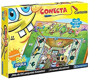 Clementoni - Juego Conecta Y Contesta Bob Esponja Mas De 100 Preguntas 17-65249