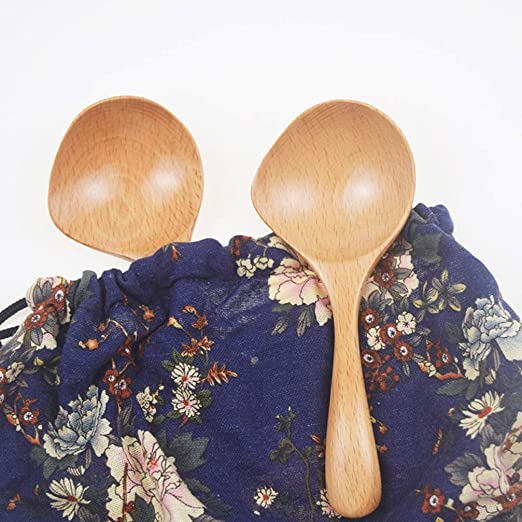 UPKOCH Natural Wood Spoon Wooden Rice Scoop with Spout Japanese Porridge Spoon for Home Restaurant