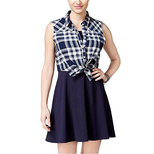 0aee0d443d Emerald Sundae New 1932 Navy Includes Attached Plaid Vest A-Line Dress 2XS  B+