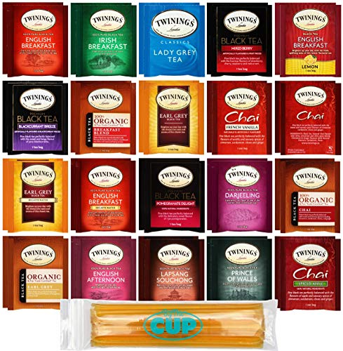 (Twinings Tea Bags & By The Cup Honey Sticks Variety 40 Ct including English Breakfast, Earl Grey, & More)