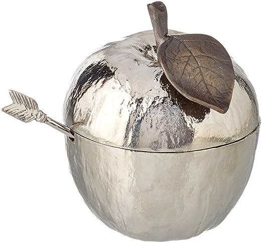Michael Aram Apple Honey Pot w// Spoon Nickelplate