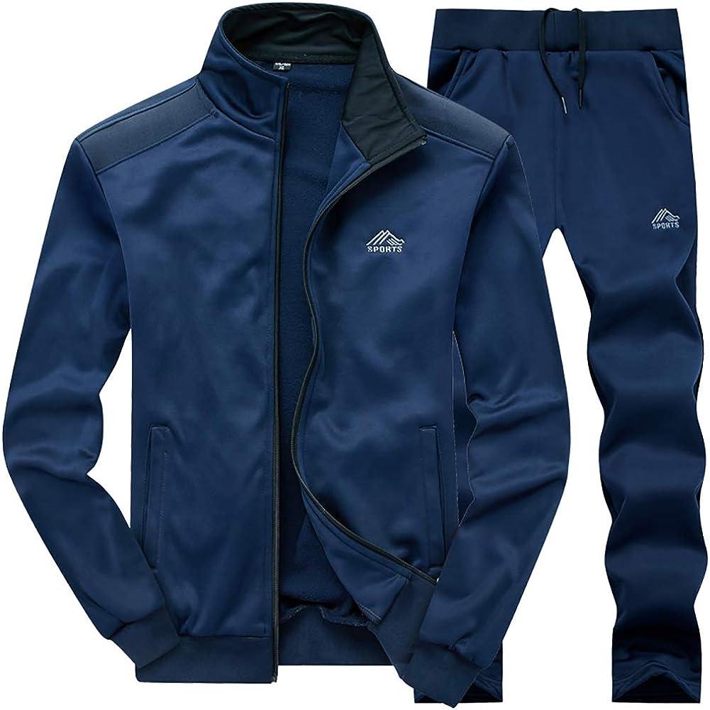 FASKUNOIE Mens Tracksuit Athletic Sports Set Full Zip Thermal Casual Jogging Sweatsuit
