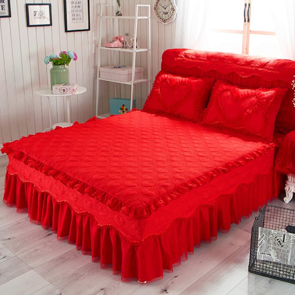 キルト綿のベッド スカート,プリンセス レース フリル綿手入れが簡単なほこりしわベッド カバー シート追加の寝具- 150x200cm(59x79inch) B07JP8SBDL