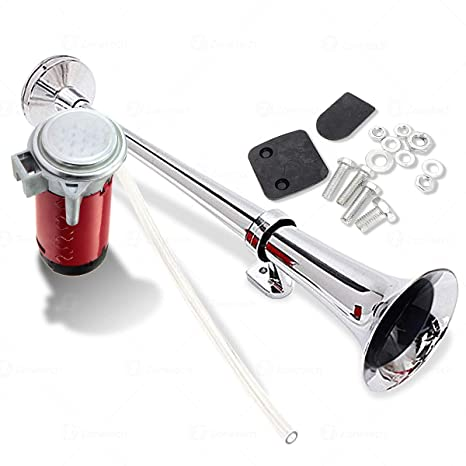 Amazon.com: Zone Tech 12V Single Trumpet Air Horn - Premium Quality Single Trumpet Air Horn Chrome + Compressor Super Loud 150db for Truck Lorry Boat Train: ...