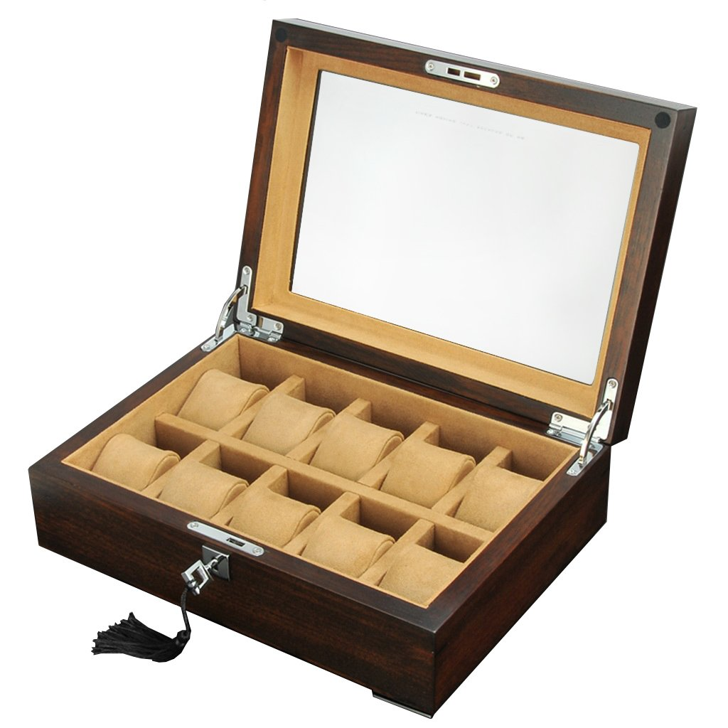 時計用収納ボックス男性用または女性用木製10個の腕時計、柔らかい枕のついた手首ロック可能な大きなガラスの蓋の腕時計、ジュエリーブレスレットのディスプレイコレクションの旅行の旅行ケース(ベージュライニング)-30.5X22X10cm B07F3N2NFY