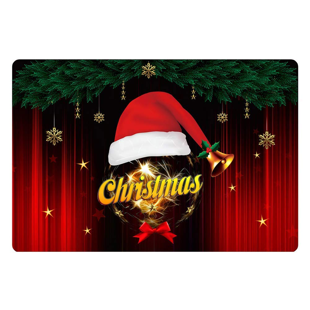 Yves Horace Funny Welcome Doormat Merry Christmas Santa Claus Gifts Pattern Non Slip Flannel Area Rugs