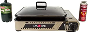 GasOne New GS-2300P Propane or Butane Dual Fuel All in One Portable Wide Stove with Premium Non-Stick Deep Grill with Tempered Glass Lid/Gas Stove Burner with Carrying Case Model 2017