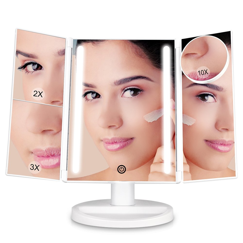 [Upgraded]Litake Makeup Vanity Mirror with 24 LED Lights, 10x/3x/2x Magnifying Led Makeup Mirror, Dimmable Trifold Mirror, Touch Screen, 180° Rotation, Dual Power Supply, Countertop Cosmetic Mirror
