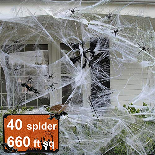 Dreamfun Halloween Decorations & Props Covered 660sqft Stretch Large Spider Web Spooky White Spider Webbing with 40 Fake Spiders for Party Indoor Outdoor Doorways Walls Entryways -
