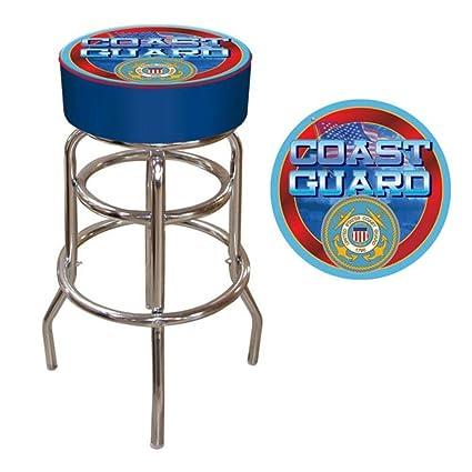 Astonishing Amazon Com 30 Us Coast Guard Padded Bar Stool Kitchen Machost Co Dining Chair Design Ideas Machostcouk