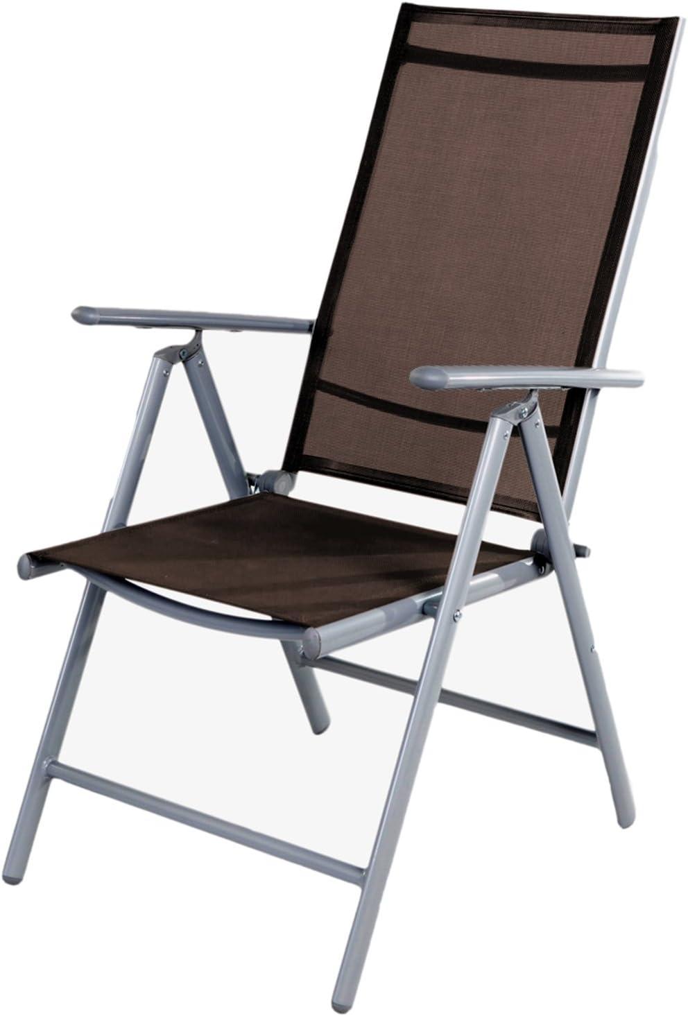Mojawo Garden Chair with High-Backed Recliner 10 Positions Adjustable  Foldable Folding Chair Weatherproof Aluminium Weatherproof Garden Furniture
