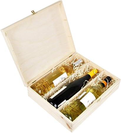 Amazinggirl Cajas de Madera para vinos - Estuches Vino Caja Madera Regalo con Tapa Pintar decoupage para Tres Botellas: Amazon.es: Hogar