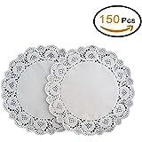 EQLEF® 150 pezzi di 6,5 pollici merletto rotondo di carta centrini, festa di nozze di carta della decorazione