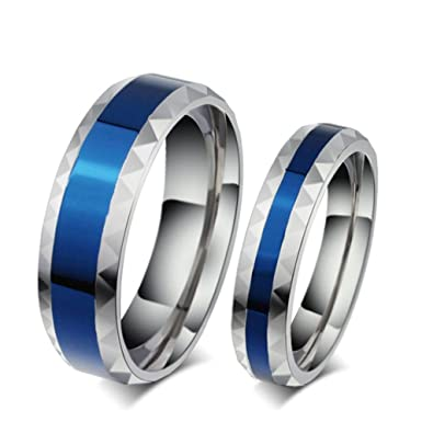 ROWAG Romantic Blue Plated 6MM Mens Titanium Stainless Steel Couple