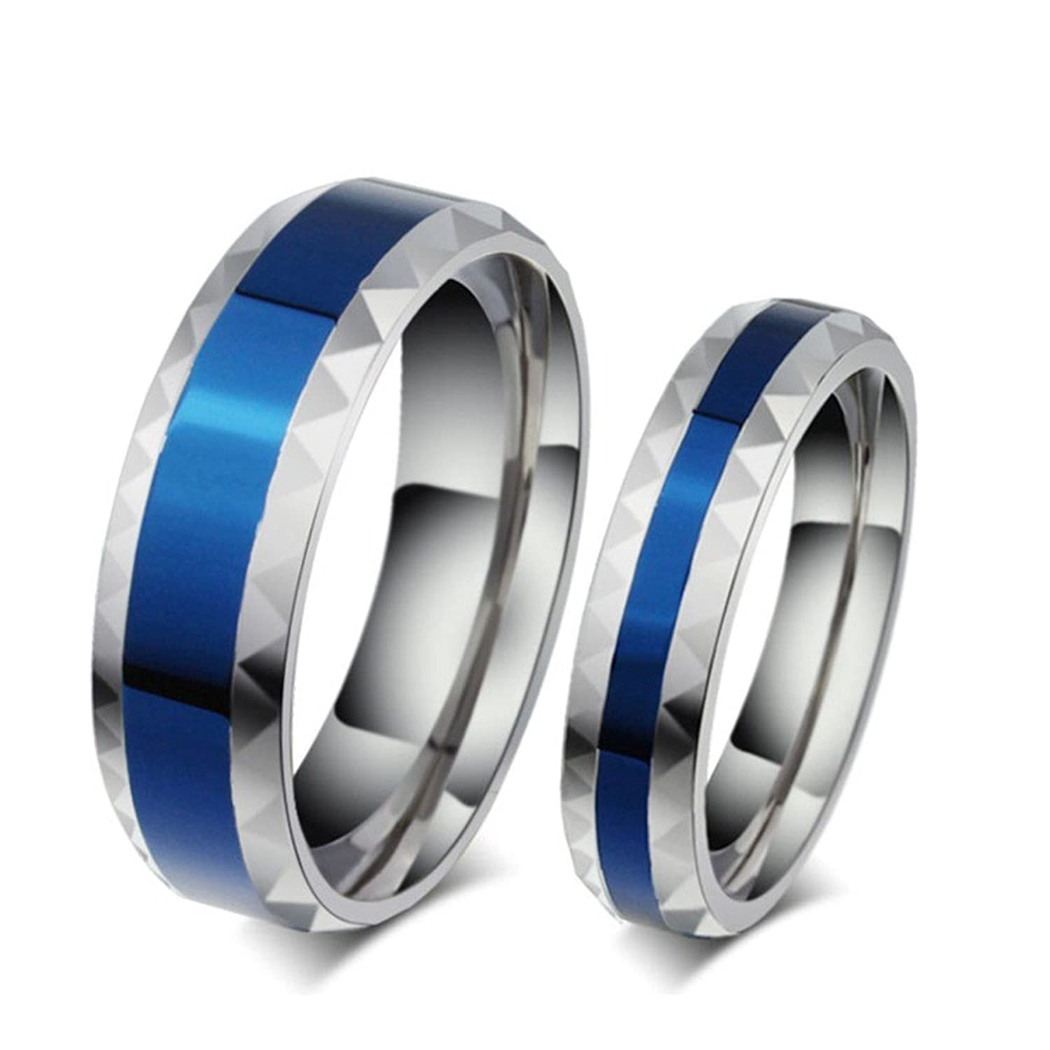 ROWAG Romantic Blue Plated 6MM Mens Titanium Stainless Steel Couple Wedding Bands for Him and Her 4MM Womens Promise Engagement Rings