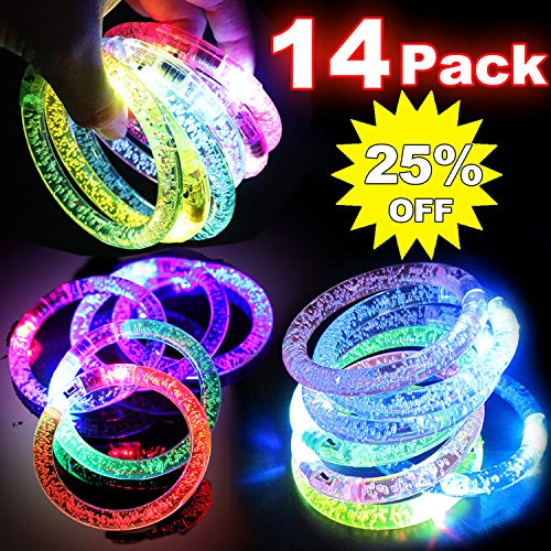14 Pack LED Bracelets Glow in The Dark Party Suppliers Birthday Party Favors Light Up Toys Flashing Colorful LED Grow Bracelet for Kids Adults Wedding, Birthdays, Concert, Night Games Fun Events Deals -