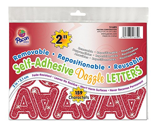 "Pacon 2"" Self-Adhesive Uppercase Letters, 159-Count, Red Dazzle (51685)"