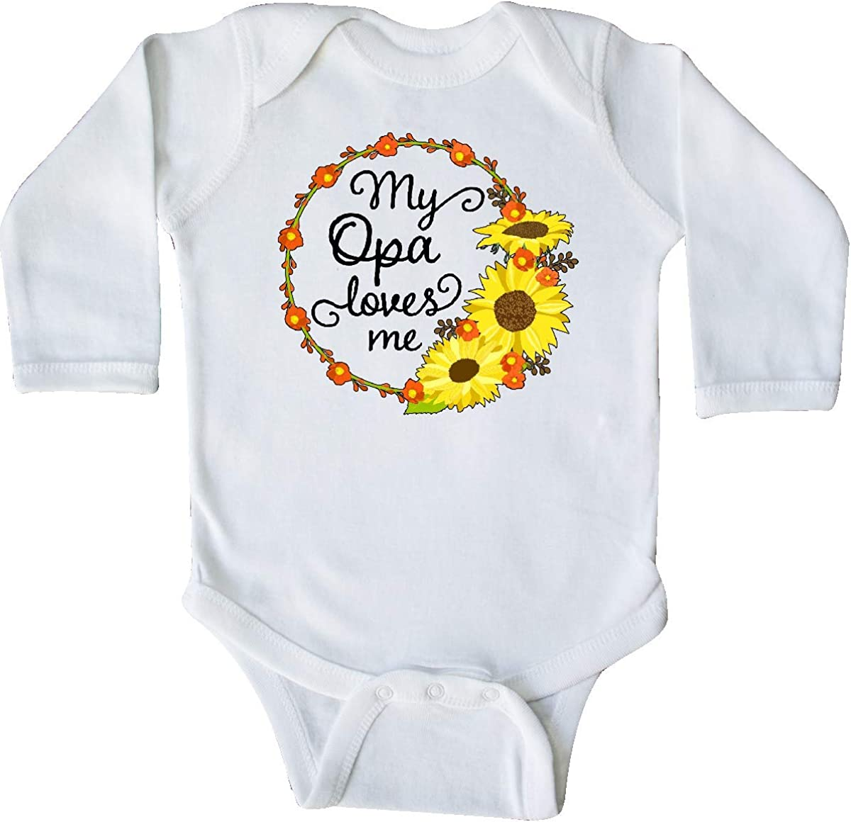 inktastic My Opa Loves Me with Sunflower Wreath Long Sleeve Creeper