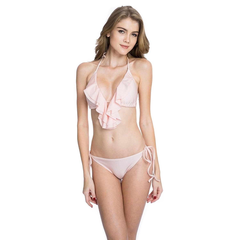 Damen sexy Glas Bikini Mode Persönlichkeit gespalten Badeanzüge