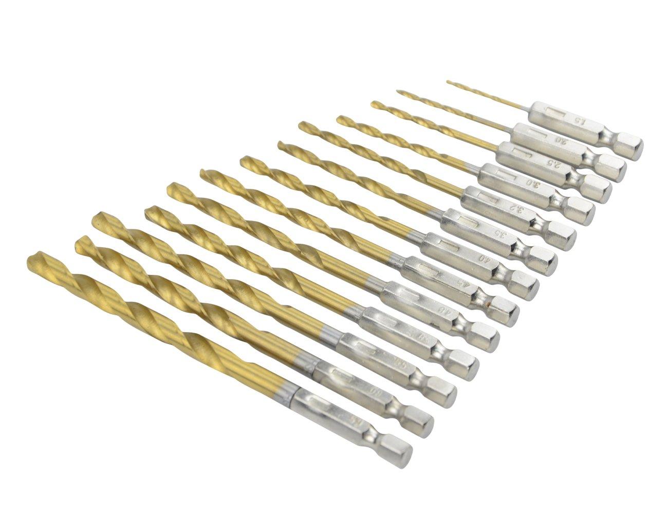 TOVOT 13 PCS High Speed Steel Drill Bit Set