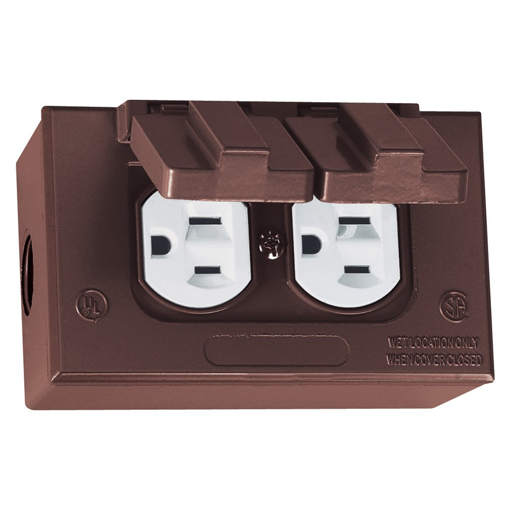 Sigma Electric 16446BR Kit of Rectangular Box, Cover and TRWR Duplex Receptacle, Bronze