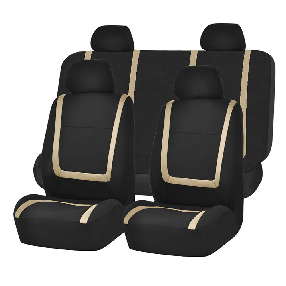 FH Group FB032BEIGE114 Beige Unique Flat Cloth Car Seat Cover (w. 4 Detachable Headrests and Solid Bench)