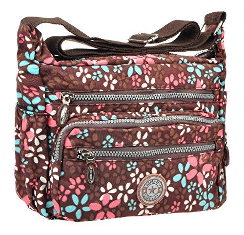 Crossbody Handbag for Women Adjustable Canvas Casual Waterproof Shoulder Travel Bag Brown Daisy