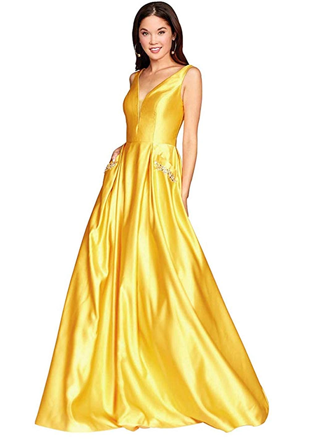 01yellow PROMNOVAS Women's V Neck Backless Beaded Satin Prom Dress Long Formal Evening Gown with Pockets