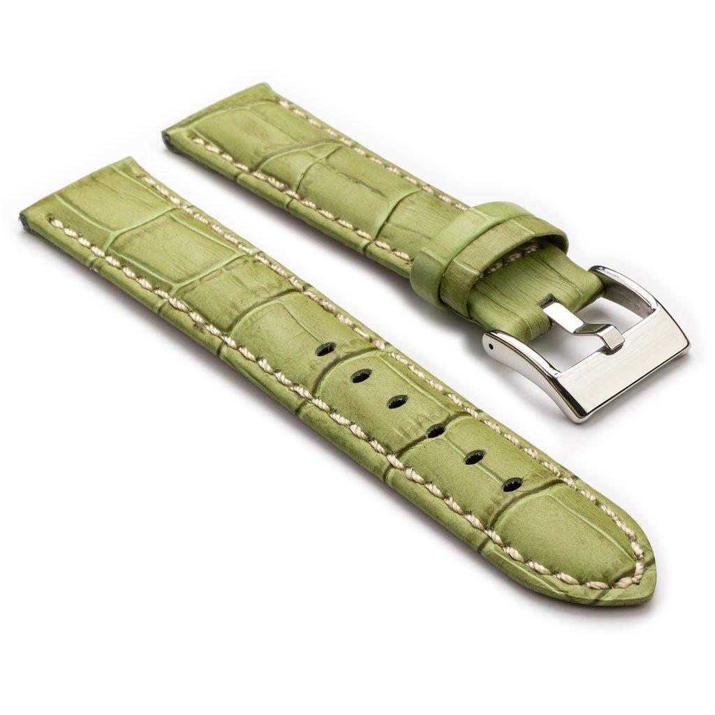 StrapsCo 最高級 緑 ワニ(クロコダイル)の型押し革 レザー 時計ストラップ 28mm B00MRDBUGQ 28mm|グリーン グリーン 28mm