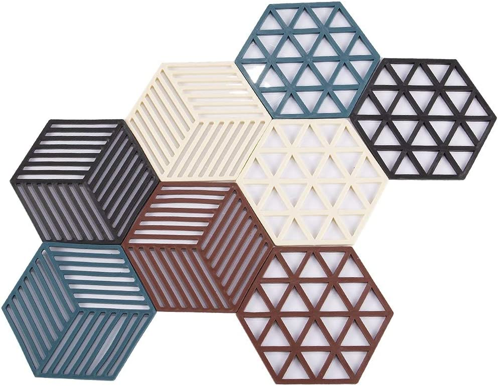 Super Leader Food Grade Kitchen Silicone Trivet Mats Silicone Trivet Set Silicone Mat for Kitchen Silicone Hot Pads Trivet Dish Pad Coaster Counter Mat Silicone Placemat Pot Holder (8 Pcs Hexagon)