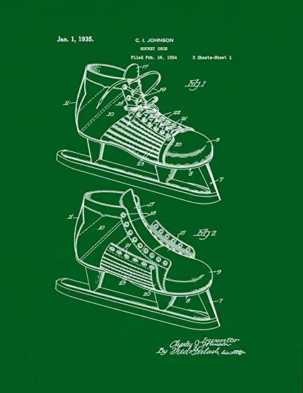 35df1698d89a3 Amazon.com: Hockey Shoe Patent Print Green (8.5