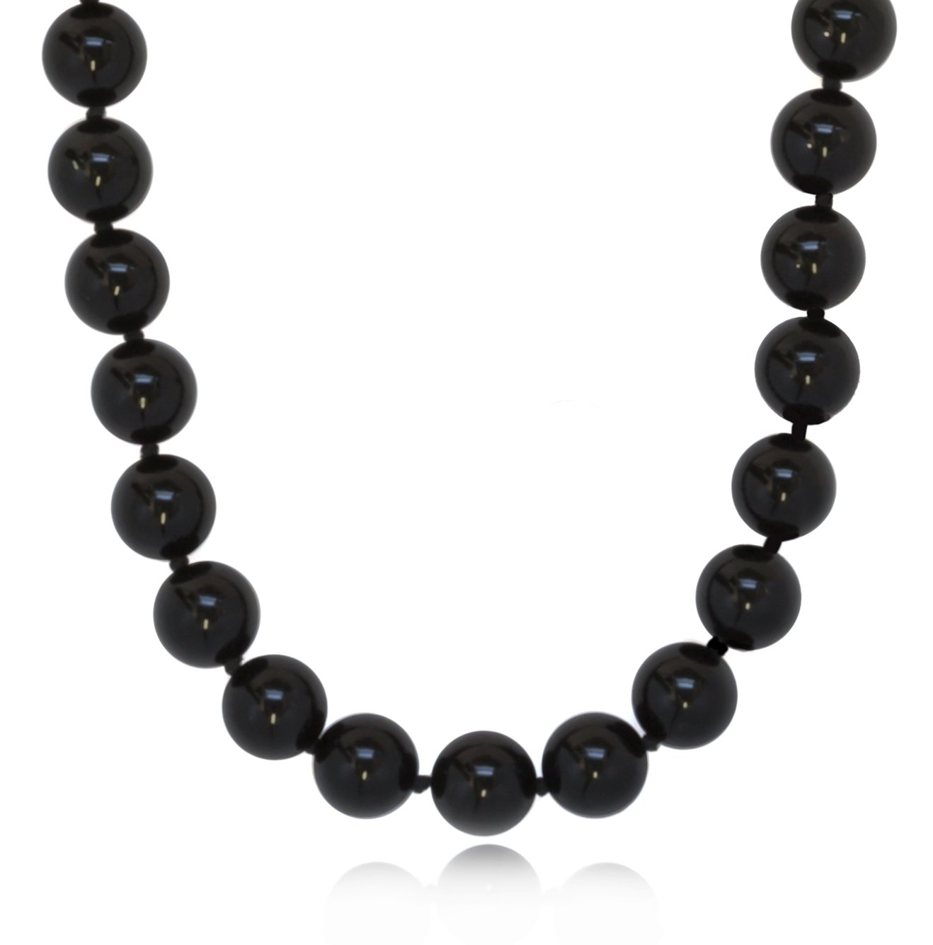 ISAAC WESTMAN 10mm Polished Black Onyx Beaded Necklace for Women | 925 Sterling Silver Clasp (20)
