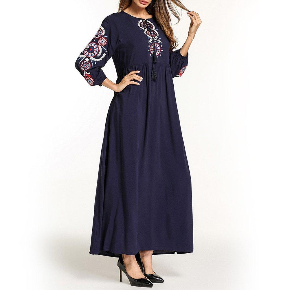 Zhhyltt Verano Dama Túnica Musulmana Medio este Bordado Vestido Traje Arabe Estilo Etnico Arabe Suelto Casual Largo Vestido Summer Ladies Muslim Robe: ...