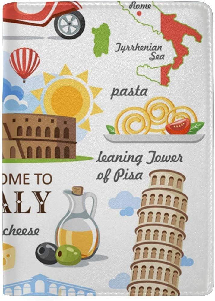 Reisepassh/üllen Italien Symbol Wahrzeichen Schiefer Turm Stilvolles Pu-Leder Reisezubeh/ör USA Reisepassh/ülle