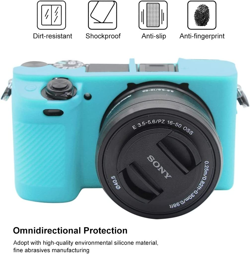Soft Silicone Protective Case for Sony ILCE-6300 Durable Color : Blue