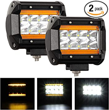 """2x Dual Color Flood Work Light Bar 6/"""" Amber+White 36W Offroad Truck DRL Fog lamp"""