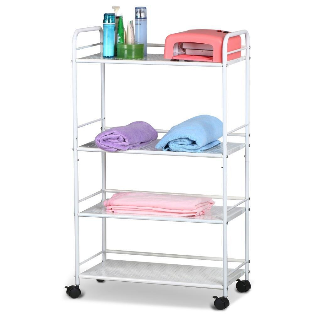 go2buy Metal Steel Cart for Medical spa Trolley, 4 Tier Kitchen Rolling Serving Cart